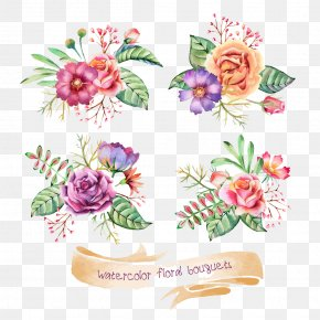 Beautiful Flowers Plants Ribbons - Wedding Invitation Flower Bouquet Watercolor Painting Clip Art PNG