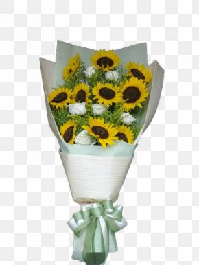 Sunflower Bouquet Of White Roses - Common Sunflower Flower Bouquet White PNG