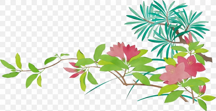 Flower Leaf Plant Pink Branch, PNG, 1600x828px, Watercolor, Branch, Flower, Leaf, Paint Download Free