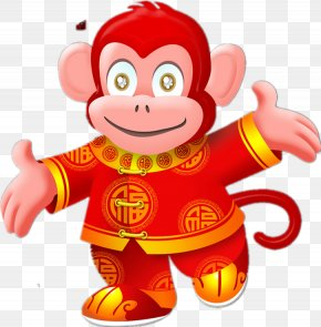 Cartoon Monkey - Chinese New Year Monkey Chinese Zodiac Firecracker Fireworks PNG