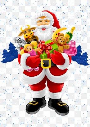 Vector Santa Claus Holding A Gift - Santa Claus Christmas Greeting & Note Cards Clip Art PNG