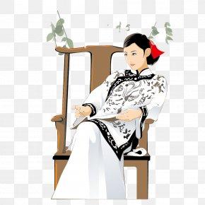 Vintage Clothing Sitting Republican Women - Designer Illustration PNG