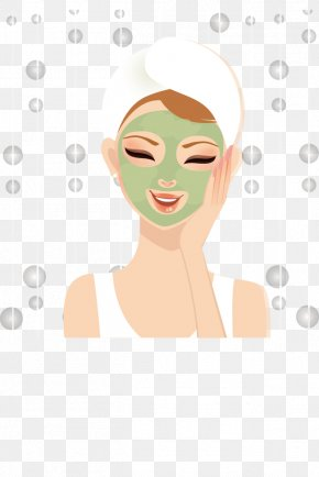 Skin Beauty Cartoon Beauty Face Mask Apply - Cartoon Beauty Facial PNG