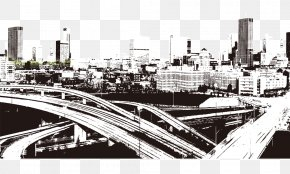 Black And White City Effect - Black And White Computer File PNG