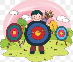 Color Arrow Target - Cartoon Child Archery Illustration PNG