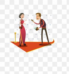 Vector Red Red Carpet On The Men And Women - Journalist Photography Clip Art PNG