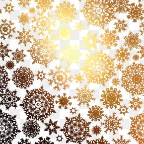 Golden Snowflake Pattern Background Vector Material - Snowflake Christmas Pattern PNG