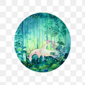 Watercolor Deer Forest - Watercolor Painting PNG