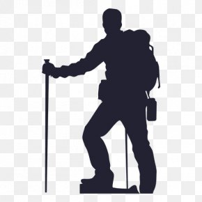 Man Silhouette - Hiking Silhouette Backpacking Clip Art PNG