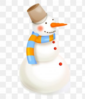 Cartoon Vector Hand Painted With Bucket Scarf Snowman - Ded Moroz Snowman Christmas Clip Art PNG