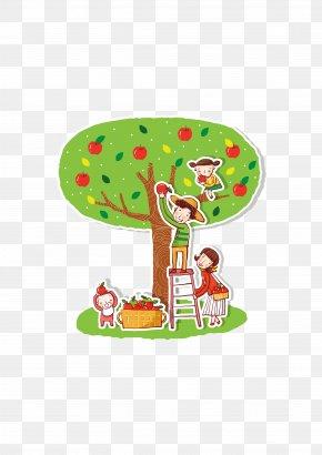 Picking Apples - Apple Cartoon Illustration PNG