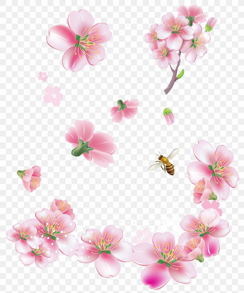 Pink Flowers Clip Art, PNG, 3019x3637px, Flower, Blossom, Branch, Cherry Blossom, Color Download Free