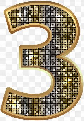 Number Three Deco Gold Clip Art Image - Clip Art PNG