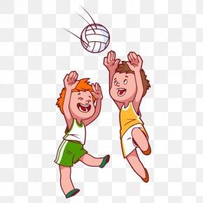 Cartoon Kids Playing Volleyball - Beach Volleyball Child Clip Art PNG
