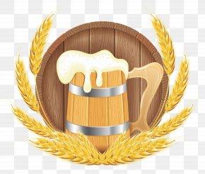 Oktoberfest Beer Barrel Mug And Wheat Clipart Image - Beer Food Keg PNG