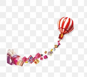 Red Hot Air Balloon And Gift Boxes - Gift Advertising Balloon PNG