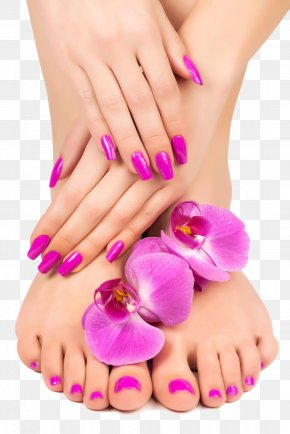 Feet And Hand Close-up - Manicure Pedicure Nail Lotion Massage PNG