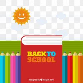 Cartoon Watercolor Painted School Season Sun Clouds Pen Books - Vector Building Watercolor Painting Graphic Design PNG
