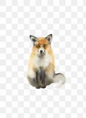 Fox - Watercolor Painting Fox Drawing Animal PNG