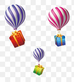 Hot Air Balloon Gift - Gift Balloon Ribbon Shoelace Knot PNG
