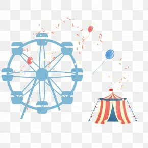 Amusement Park Elements - Amusement Park Euclidean Vector Roller Coaster Ferris Wheel PNG