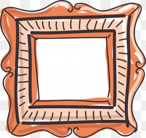 Orange Cartoon Picture Frame - Picture Frame Painting Clip Art PNG