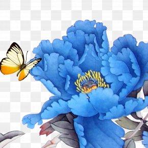 Peony - Moutan Peony Blue U4e2du56fdu56fdu82b1 PNG