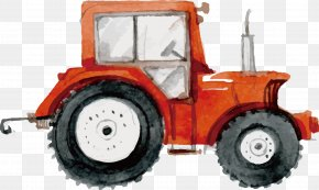 Hand-painted Vector Illustration Tractor - Farm Agriculture Tractor PNG