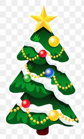 Transparent Snowy Deco Xmas Tree With Star Clipart - Rudolph Santa Claus Christmas Day Christmas Tree PNG