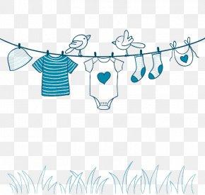 Blue Clothesline Illustration - Clothing PNG