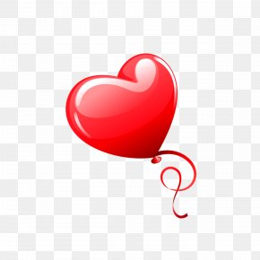 Heart-shaped Balloon - Heart Valentine's Day Balloon Red PNG