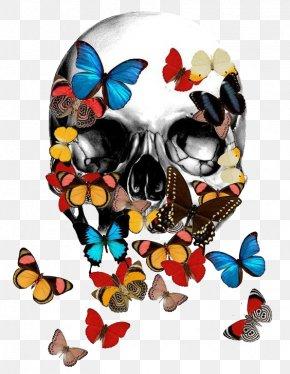 Butterfly Skull Bones - T-shirt Calavera Skull Bone Skeleton PNG