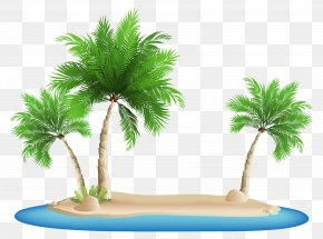 Palm Trees Island Clipart Image - Beach Clip Art PNG