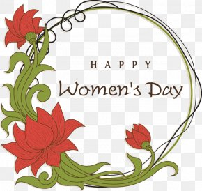 Women's Day Flowers Decorative Elements - International Womens Day Wish Greeting Card Happiness PNG