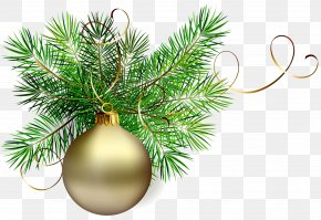 Transparent Gold Christmas Ball With Pine Clipart - Christmas Ornament Santa Claus Clip Art PNG