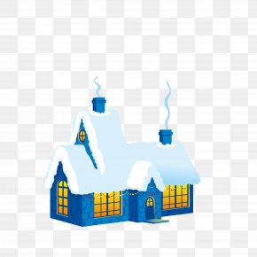 Lovely Cartoon Blue Snow House Material Free To Pull - Snow Christmas Wallpaper PNG