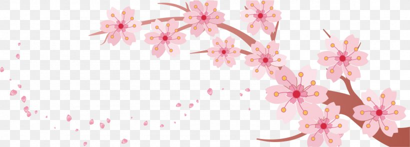 Cherry Blossom Banner Template, PNG, 1486x533px, Cherry Blossom, Blossom, Branch, Cherry, Floral Design Download Free