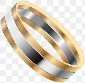 Gold Silver Wedding Ring Clip Art Image - Wedding Ring Gold Clip Art PNG