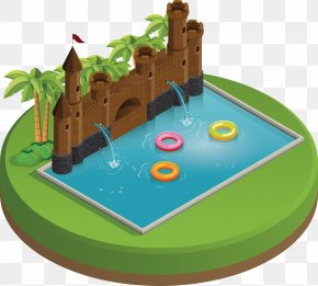 Vector Castle Swimming Pool - Swimming Pool Playground PNG