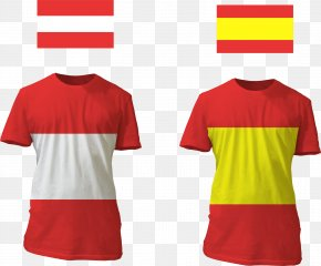 Vector Hand Painted Austrian Flag - Austria T-shirt Euclidean Vector PNG
