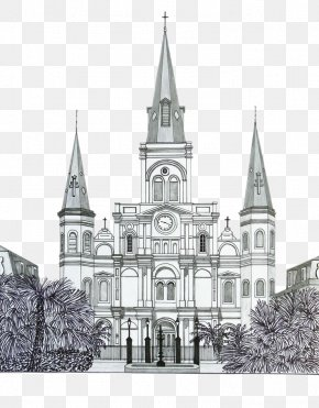 Church Steeple - Drawing Building Church Watercolor Painting Sketch PNG