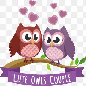 Vector Owl Couple - Barn Owl Little Owl PNG