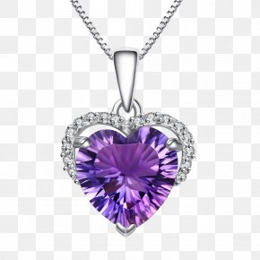 Purple Diamond Necklace - Earring Necklace Pendant Jewellery Rhinestone PNG