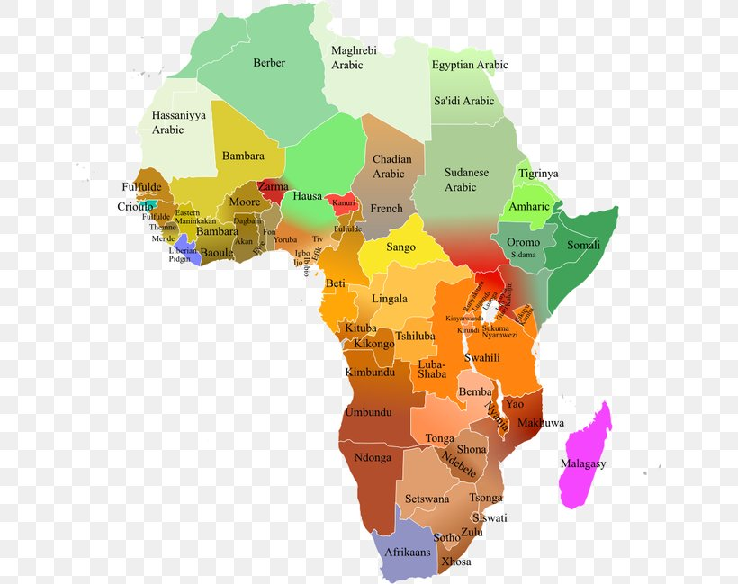 Languages Of Africa Map Swahili, PNG, 650x649px, Languages ...