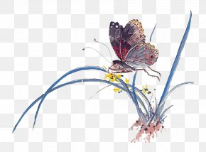 Ink Grass Butterfly - Ink Wash Painting Butterfly Chinese Painting Art PNG