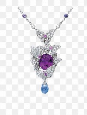 Diamond Necklace - Earring Amethyst Necklace Diamond Purple PNG