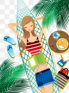 Creative Cool Summer Beach Scenery - Hammock Relaxation Illustration PNG