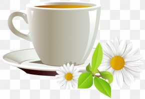 Cup Of Coffee And Daisies Clipart - Coffee Cup Tea Cafe Clip Art PNG