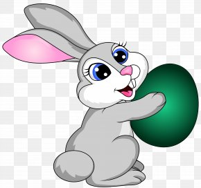 Easter Bunny With Egg Transparent Clip Art Image - Easter Bunny Easter Egg Clip Art PNG
