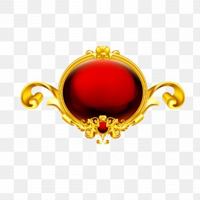 Gold Frame Red Shading - Picture Frame Ornament PNG